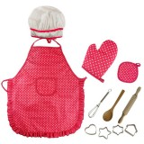 3 PCS Chef Kitchen Baking Tools Apron Girl Toy Set Kindergarten Stage Photography Play Costume Props (Red chef apron)