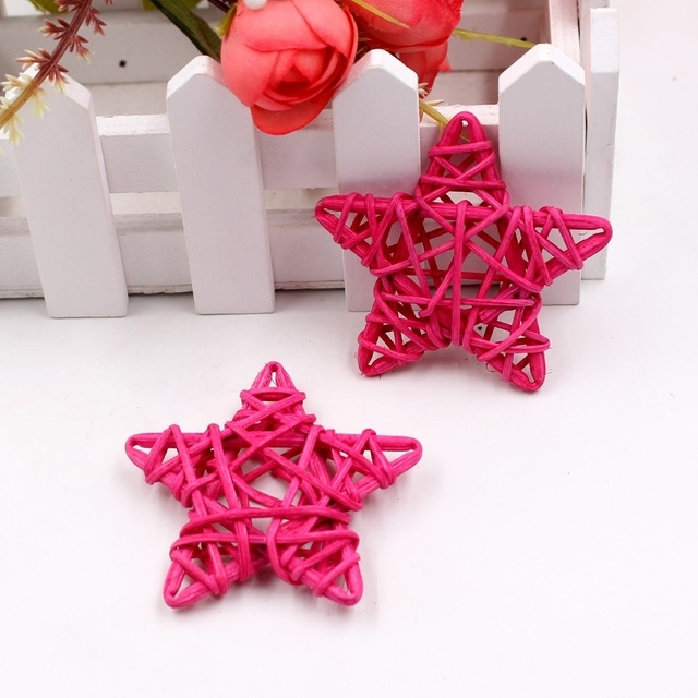 10 PCS 6cm Artificial Straw Ball DIY Decoration Rattan Stars Christmas Decor Home Ornament Supplies (Pink)