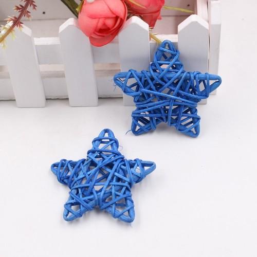 10 PCS 6cm Artificial Straw Ball DIY Decoration Rattan Stars Christmas Decor Home Ornament Supplies (Blue)