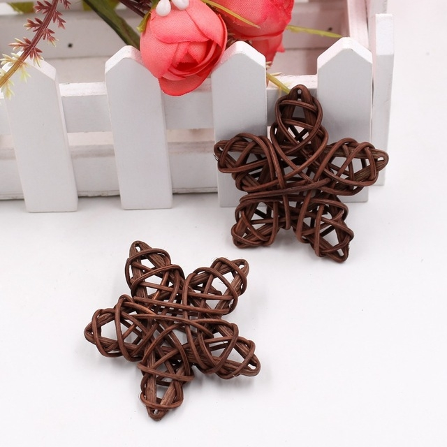 10 PCS 6cm Artificial Straw Ball DIY Decoration Rattan Stars Christmas Decor Home Ornament Supplies (Coffee)