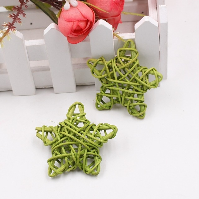 10 PCS 6cm Artificial Straw Ball DIY Decoration Rattan Stars Christmas Decor Home Ornament Supplies (Green)