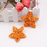 10 PCS 6cm Artificial Straw Ball DIY Decoration Rattan Stars Christmas Decor Home Ornament Supplies (Orange)