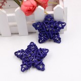 10 PCS 6cm Artificial Straw Ball DIY Decoration Rattan Stars Christmas Decor Home Ornament Supplies (Purple)