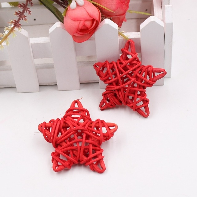 10 PCS 6cm Artificial Straw Ball DIY Decoration Rattan Stars Christmas Decor Home Ornament Supplies (Red)
