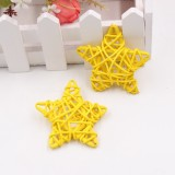 10 PCS 6cm Artificial Straw Ball DIY Decoration Rattan Stars Christmas Decor Home Ornament Supplies (Yellow)