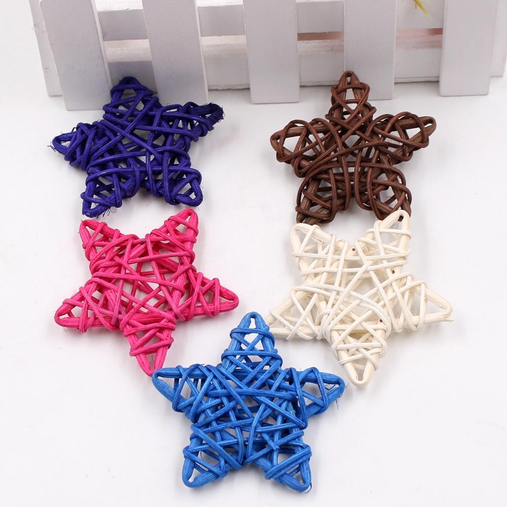10 PCS 6cm Artificial Straw Ball DIY Decoration Rattan Stars Christmas Decor Home Ornament Supplies (Yellow)
