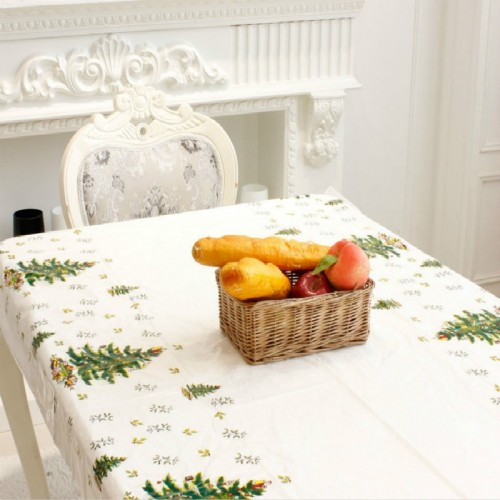 2 PCS Merry Christmas Rectangular Tablecloth Kitchen Dining Table Covers Decoration (Christmas Tree)