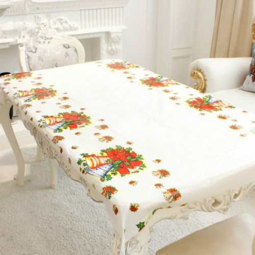 2 PCS Merry Christmas Rectangular Tablecloth Kitchen Dining Table Covers Decoration (Bell)