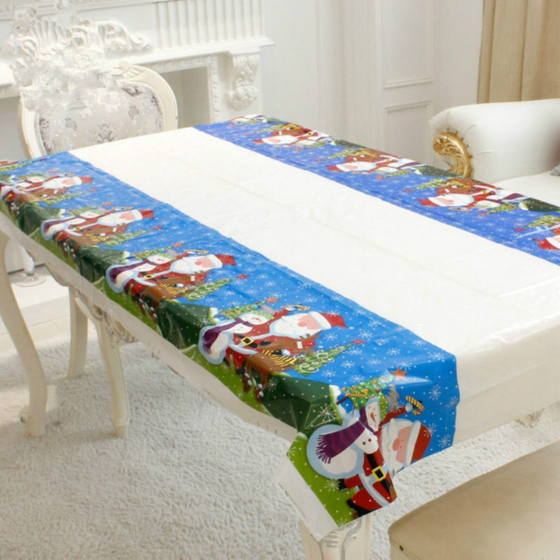 2 PCS Merry Christmas Rectangular Tablecloth Kitchen Dining Table Covers Decoration (Santa Claus)