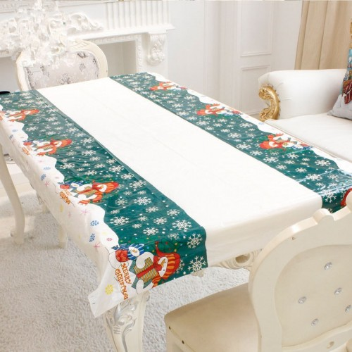 2 PCS Merry Christmas Rectangular Tablecloth Kitchen Dining Table Covers Decoration (Snowman)