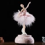 Elegant Refined Ballerina Dance Carousel Music Box Barbie Feather Music Box (Pink)