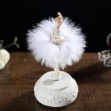 Elegant Refined Ballerina Dance Carousel Music Box Barbie Feather Music Box (White)