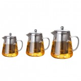 Large Capacity Heat Resistant Glass Teapot Tea Set With Stainless Steel Filter For Kung Fu Tea, Capacity: 450ML