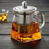2 PCS Stainless Steel Infuser Filter Clear Heat Resistant Glass Tea Pot (350ml)