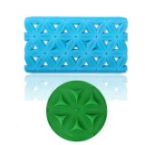 2 PCS Cake Fondant Tool Heart Shaped Diamond Texture Plaid Overpass Quyi Seal Printing Mould (6 Petal Cut Mold 56006)
