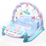 Baby Early Education Toy Baby Piano Fitness Frame Crawling Blanket Newborn Baby Toy (Blue)