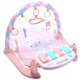 Baby Early Education Toy Baby Piano Fitness Frame Crawling Blanket Newborn Baby Toy (Pink)