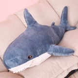 Plush Stuffed Toy Shark Kids Toys Boys Girls Animal Reading Pillow for Birthday Gifts, Height: 80cm (Blue)