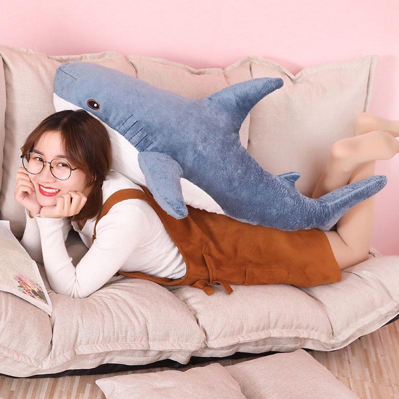 Plush Stuffed Toy Shark Kids Toys Boys Girls Animal Reading Pillow for Birthday Gifts, Height: 80cm (Blue)