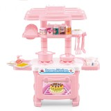 Miniature Kitchen Plastic Pretend Play Children Kids Toys for Girls Boys Simulation Cooking Cookware Kitchen Toys Set (Pink)