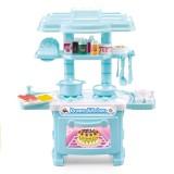 Miniature Kitchen Plastic Pretend Play Children Kids Toys for Girls Boys Simulation Cooking Cookware Kitchen Toys Set (Blue)
