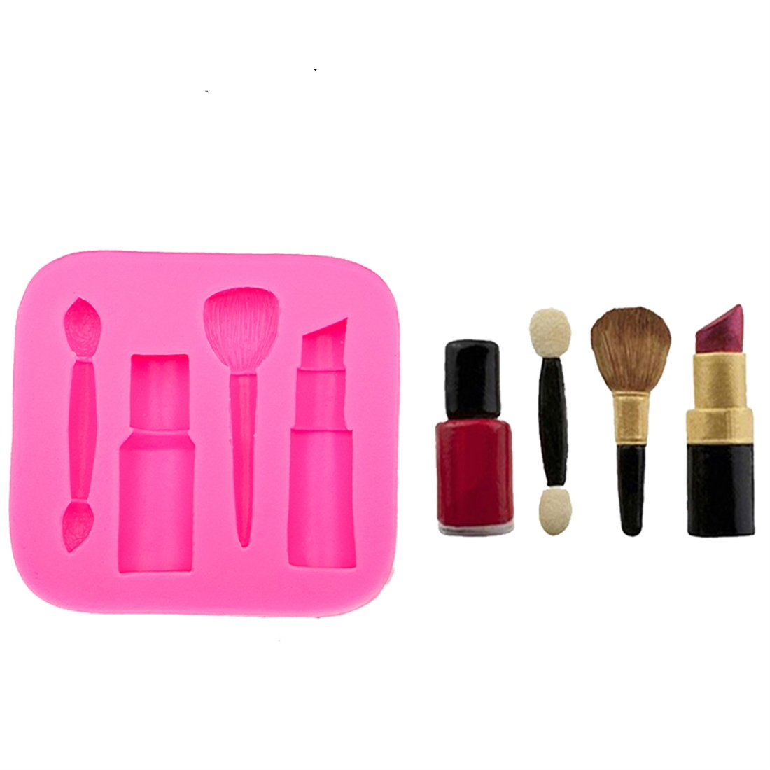2 PCS Lipstick Eyebrow Pencil Makeup Tool Shape Silicone Fondant Cake Mold Chocolate Mold Clay Mold