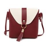 PU Leather Women Bucket Shoulder Bag Fashion Panelled Tassel Crossbody Bag Female Messenger Bag Small Handbags (Wine red)