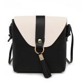 PU Leather Women Bucket Shoulder Bag Fashion Panelled Tassel Crossbody Bag Female Messenger Bag Small Handbags (Black)