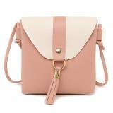 PU Leather Women Bucket Shoulder Bag Fashion Panelled Tassel Crossbody Bag Female Messenger Bag Small Handbags (Pink)