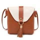 PU Leather Women Bucket Shoulder Bag Fashion Panelled Tassel Crossbody Bag Female Messenger Bag Small Handbags (Brown)