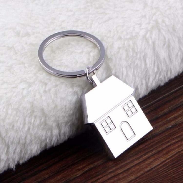 2 PCS Personalized Metal Keychain Creative House Pendant