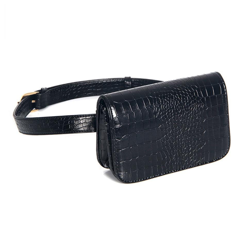 Vintage Women Alligator PU Leather Waist Pack Travel Belt Wallets Fanny Bags (Black-L)