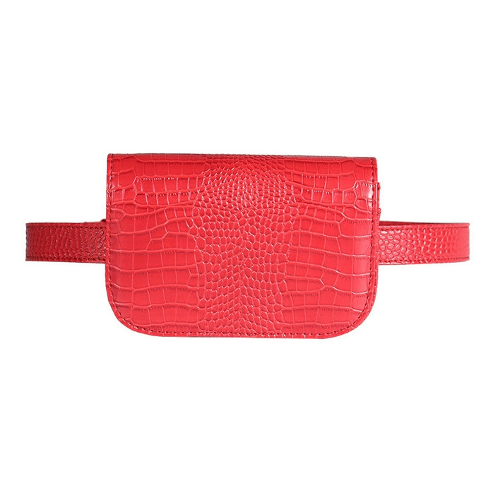 Vintage Women Alligator PU Leather Waist Pack Travel Belt Wallets Fanny Bags (Red-S)