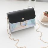 Laser Crossbody Bag For Women Chain Mini Shoulder Bag Circle Small Messenger Bag Womens Handbags Purses Evening Clutch Bags (Black)