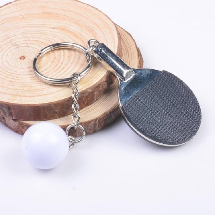 2 PCS Creative Metal table Tennis Keychain Handmade Jewelry Gift Sports Keychain, Specification: 2x2.8x6.5cm (Black)