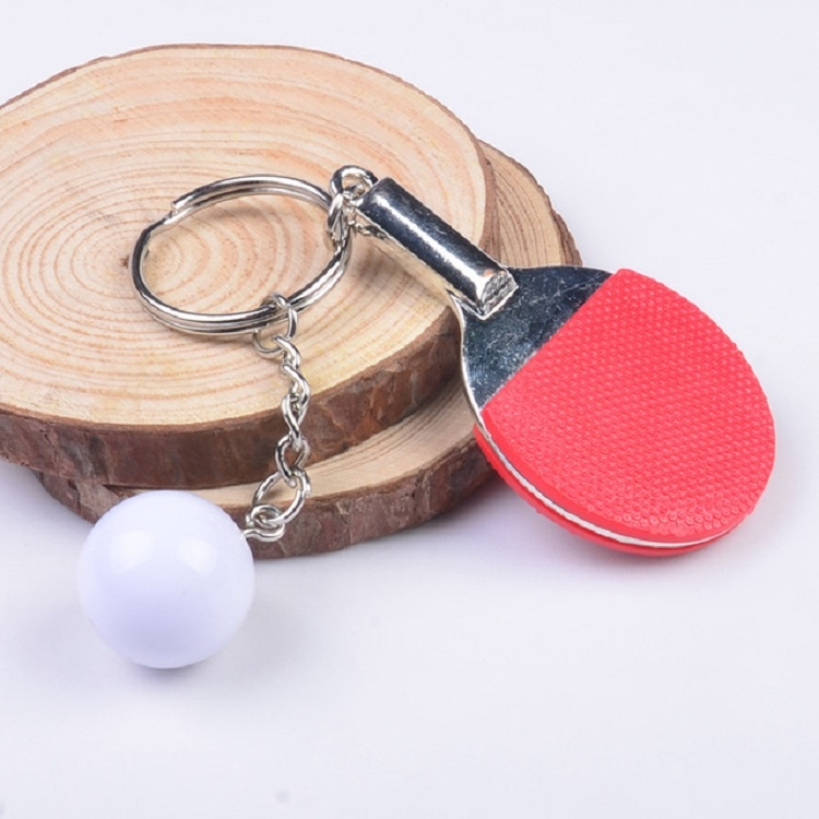 2 PCS Creative Metal table Tennis Keychain Handmade Jewelry Gift Sports Keychain, Specification: 2x2.8x6.5cm (Red)