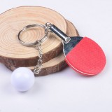 2 PCS Creative Metal table Tennis Keychain Handmade Jewelry Gift Sports Keychain, Specification: 2×2.8×6.5cm (Red)