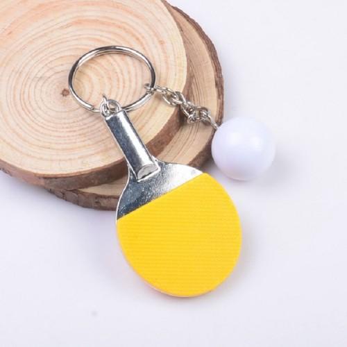 2 PCS Creative Metal table Tennis Keychain Handmade Jewelry Gift Sports Keychain, Specification: 2x2.8x6.5cm (Yellow)