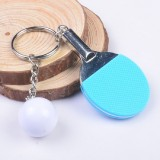 2 PCS Creative Metal table Tennis Keychain Handmade Jewelry Gift Sports Keychain, Specification: 2×2.8×6.5cm (Light Blue)