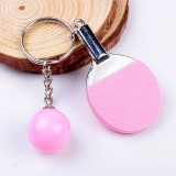 2 PCS Creative Metal table Tennis Keychain Handmade Jewelry Gift Sports Keychain, Specification: 2×2.8×6.5cm (Pink)