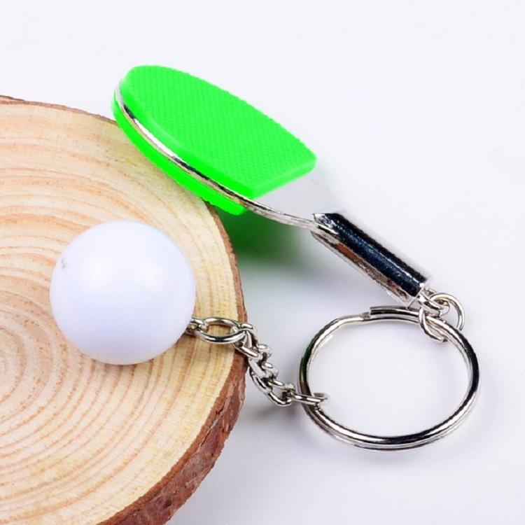 2 PCS Creative Metal table Tennis Keychain Handmade Jewelry Gift Sports Keychain, Specification: 2x2.8x6.5cm (Green)