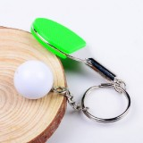 2 PCS Creative Metal table Tennis Keychain Handmade Jewelry Gift Sports Keychain, Specification: 2×2.8×6.5cm (Green)