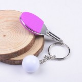 2 PCS Creative Metal table Tennis Keychain Handmade Jewelry Gift Sports Keychain, Specification: 2×2.8×6.5cm (Purple)
