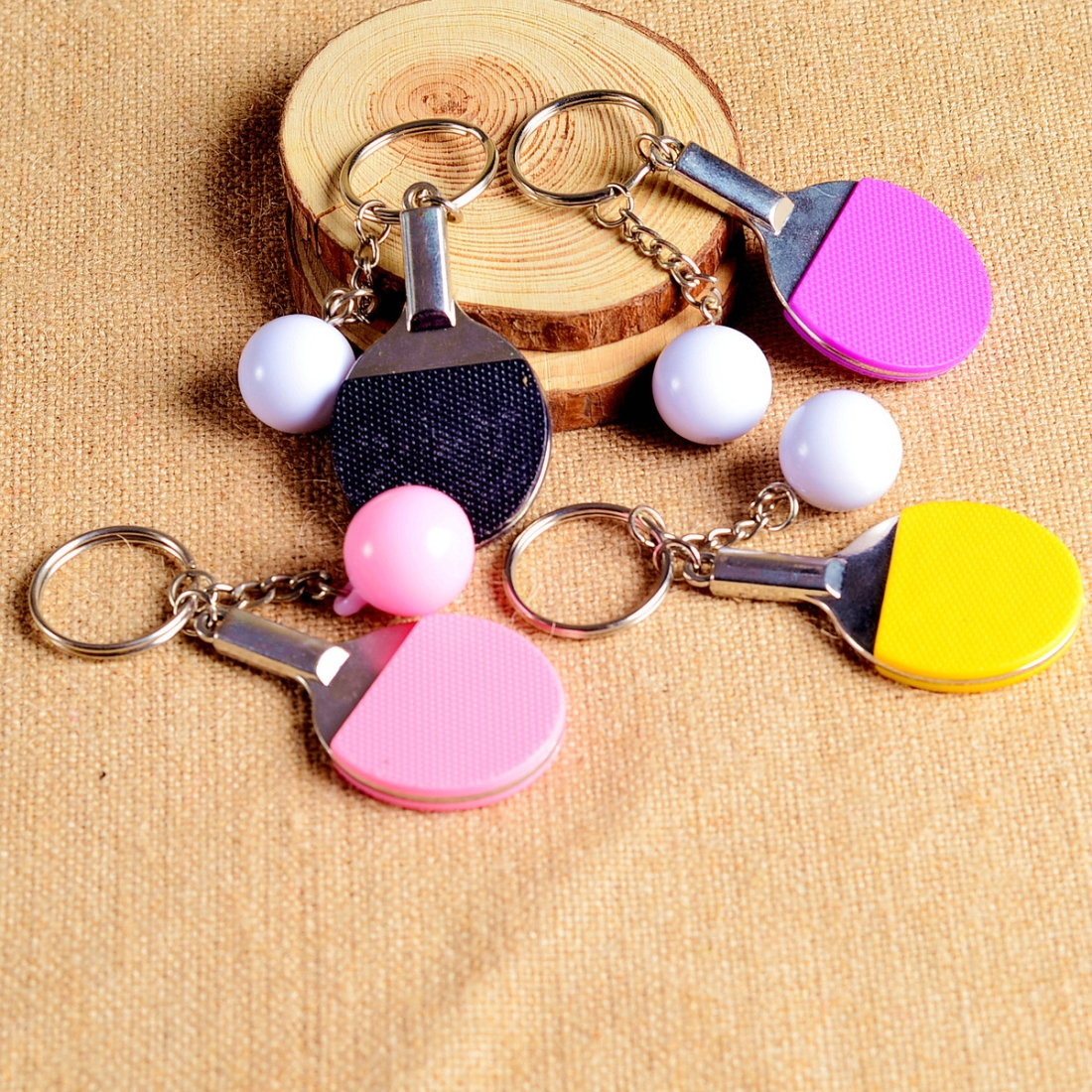 2 PCS Creative Metal table Tennis Keychain Handmade Jewelry Gift Sports Keychain, Specification: 2x2.8x6.5cm (Purple)