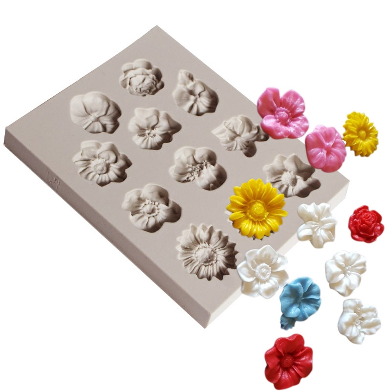 2 PCS Fondant Cake Silicone Mold Chocolate Mold DIY Trumpet Flower Sun Flower Baking Decoration (Gray)