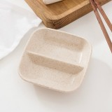 10 PCS Kitchen Accessories 2 in 1 Seasoning Sauce Dishes Wheat Straw Salad Saucer Bowl Tableware Seasoning dish Cooking Tools (Wheat color)