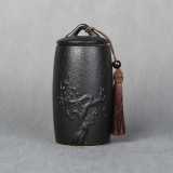 Plum Flower Pattern Stoneware Tea Cans Storage Tanks Ceramic Tea Set Tea Ceremony Accessories (Black)