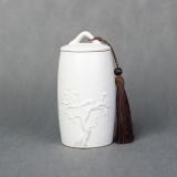Plum Flower Pattern Stoneware Tea Cans Storage Tanks Ceramic Tea Set Tea Ceremony Accessories (White)