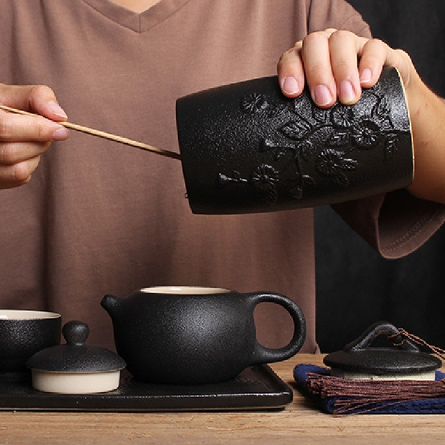 Bamboo Pattern Stoneware Tea Cans Storage Tanks Ceramic Tea Set Tea Ceremony Accessories (Black)