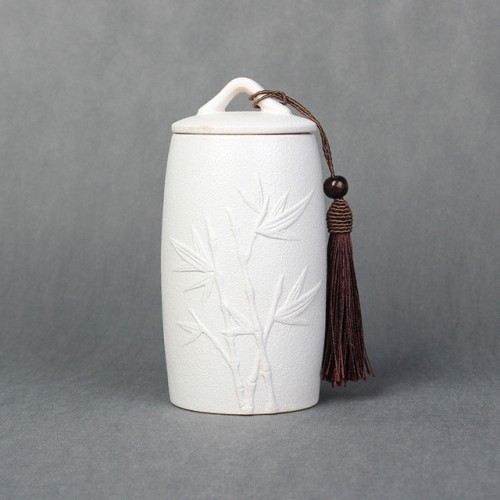Bamboo Pattern Stoneware Tea Cans Storage Tanks Ceramic Tea Set Tea Ceremony Accessories (White)